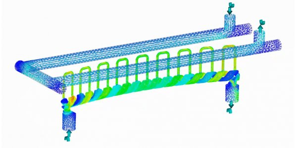 Image of a Moldflow conformal cooling simulation